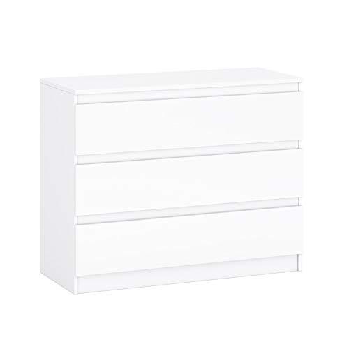 GLmeble Kommode mit Mehreren Schubladen Mehrzweckschrank für Schlafzimmermöbel, Massive Laminatplatte (Weiß, A12)