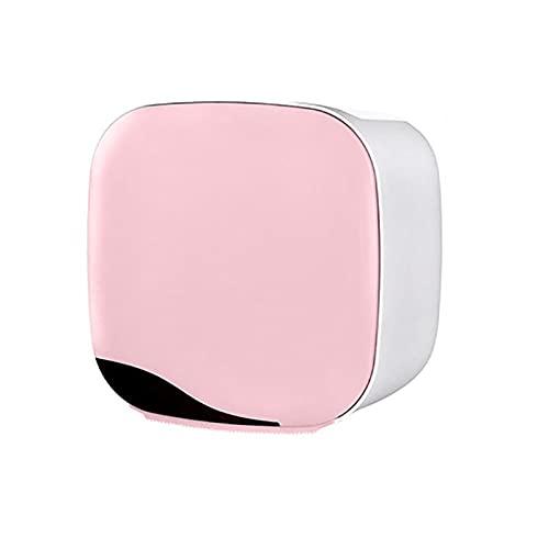 GDYJP Tenedor de Papel higiénico, Tenedor de Rollo Montado en la Pared Caja de Almacenamiento Accesorios de baño Tubo de Rollo Tubo Punch-Libre de Doble Capa Tejido de Tejido (Color : Pink)