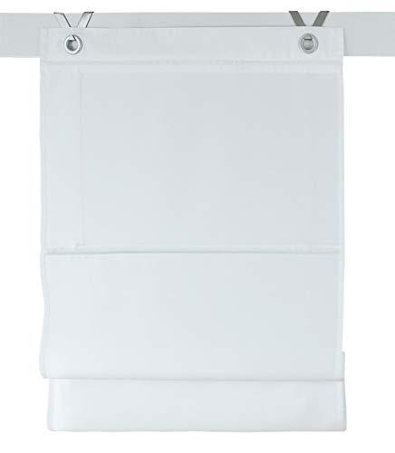 Raffrollo / Ösenrollo Kessy Bessy weiss 80 * 140 cm