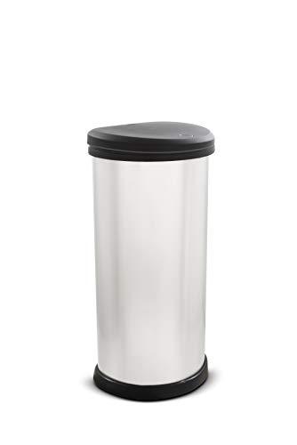 CURVER Deco Bin Cubo de Basura de 40 L, Plateado