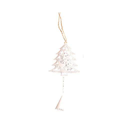 Qagazine Adorno para árbol de Navidad, campanas de Navidad, mini cascabel de Navidad, decoración para colgar con cinta de árbol de Navidad, colgante creativo de hierro forjado