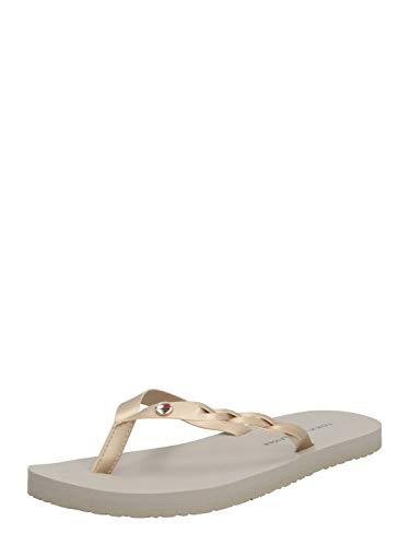 Tommy Hilfiger Metallic Braided Beach Sandal, Sandalias con Punta Abierta para Mujer, Beige (Stone Aep), 42 EU
