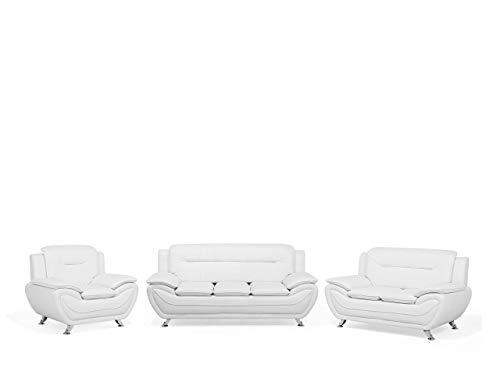 Beliani Conjunto de sofás de Piel sintética 6 plazas Blanc