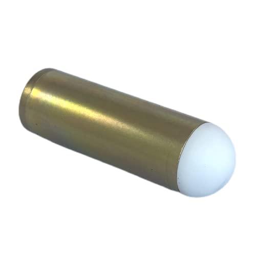 Tope de latón pulido con rosca de 25 mm de diámetro.