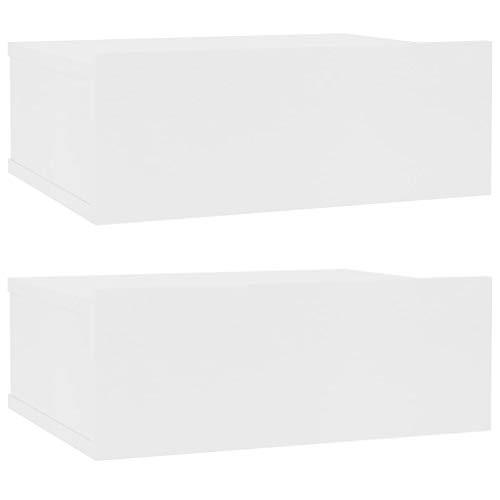vidaXL 2X Mesita de Noche Flotante Aglomerado Blanco 40x30x15 cm Mesilla Cama