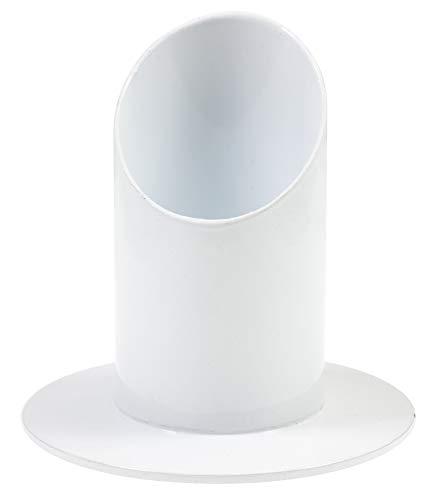 everlar® Edler Kerzenständer I 4 cm ø I Handgearbeitete Qualität I Kerzenhalter für Taufkerze, Kommunionkerze, Stabkerze, Stumpenkerze, Tafelkerze, Traukerze, Trauerkerze u.a. I Metall Weiß
