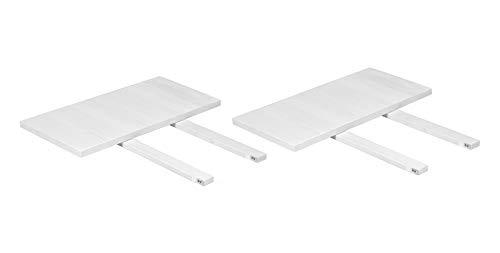 Naturholzmöbel Seidel 2 Ansteckplatten Weiss 40x80cm für Esstisch Rio Bonito 120x80 und 140x80 Pinie Massivholz Landhaus, für Tische Farbton White Grain