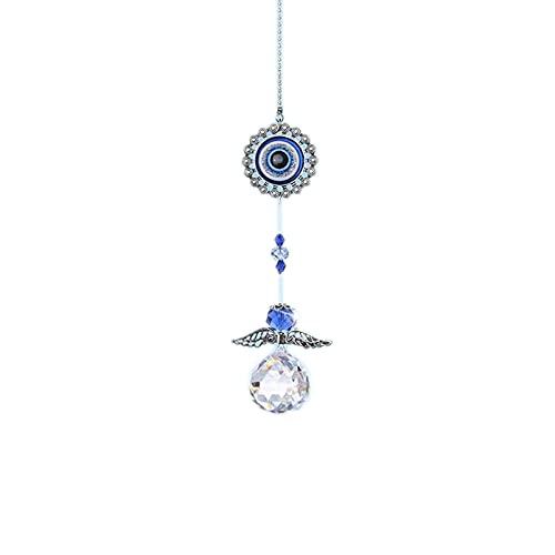 litulituhallo Atrapasueños de ángel de cristal con Feng Shui azul turco protección contra el mal de ojo y regalo de buena suerte