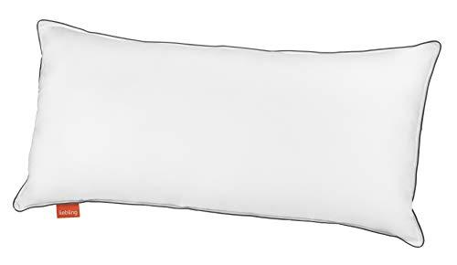 liebling pralles Hotel Kopfkissen (höhenverstellbar), Bezug 100% weiche Baumwolle mit Grauer Biese in 40 x 80 (Variante fest mit 950 gr. Vollfaser), weiß