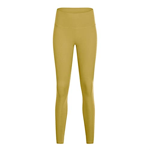 LSTGJ Soft Naked-Feel Workout Gym Yoga Pants Women Squat Proof High Waist Fitness Tights Sport Stretch (Color : Turmeric, Size : S 6)