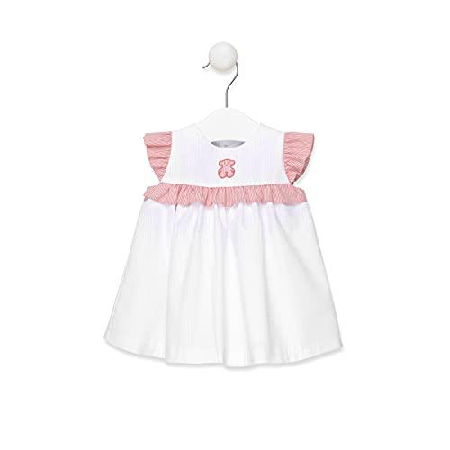 TOUS BABY - Vestido Sin Mangas con Volantes y Falda de Corte Evasé para Niña. Estampado Strip. (Estándar, 18_Months)