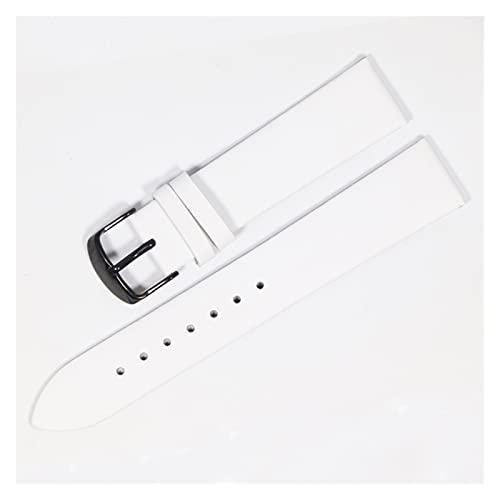 WZWS Correa Reloj Correa de Cuero 18 mm 20 mm 22mm Correa Reloj de Cuero (Band Color : White Black, Band Width : 20mm)
