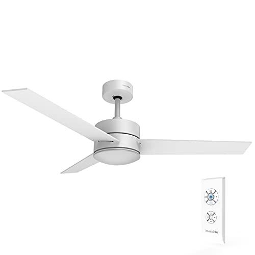 UNIVERSALBLUE | Ventilador de Techo con Luz LED Silencioso | Mando a Distancia | 3 Aspas Reversibles | Diámetro 118 cm | Potencia 70 W | Temporizador | 3 velocidades | Blanco
