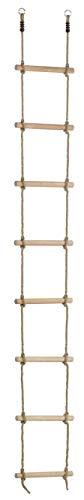 Gartenwelt Riegelsberger Premium Strickleiter für Kinder mit 8 Holzsprossen Länge 290 cm Seilleiter Trittleiter Hängeleiter Turngerät
