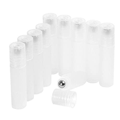 Bouteille d'huile essentielle en plastique rechargeable 5ml à rouleau portable 5 ml avec rouleau en acier 10pcs, bouteille fendue