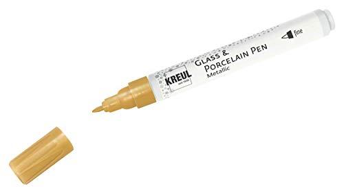 Kreul 16424 - Glass & Porcelain Pen Metallic fine, gold, formstabile Feinspitze, Strichstärke ca. 1 - 2 mm, Porzellanmalstift mit brillanter, metallischer Farbe auf Wasserbasis, lösemittelfrei