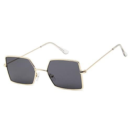 QWKLNRA Gafas De Sol para Hombre Marco Dorado Lente Negra Polarizado Deportes Gafas De Sol Moda Square Gafas De Sol Mujeres Hombres Tonos Metálicos Gafas De Sol Vintage Uv400 Gafas para Mujer