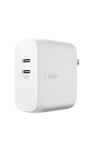 Belkin 充電器 USB-C 2ポート 68W(18W + 50-60W) PD 急速充電 GaN 窒化ガリウム 折りたたみ式プラグ MacBook/iPhone 12 / 11 / SE/iPad/Androidスマホ各種対応 BOOST↑CHARGE WCH003dqWH-A