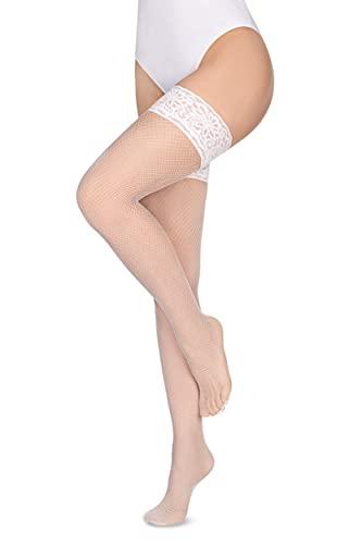 Annes styling Calze Rete Halterlose Netzstrümpfe aus Silikon mit Spitzenoberteil, hohe Diamanten, Nylon-Netzsocken, Gr. TG-7/8 Bianco