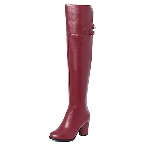CuteFlats Botas altas hasta la rodilla para mujer con tacón en bloque y punta redonda, Pu Vino, 37 EU