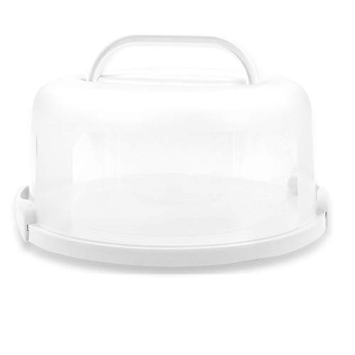 Top Shelf Elements Cake Carrier for Up to 10 inch x 4 1/2 inch Cake. Two Sided Fashionable Base Doubles as Five Section Serving Tray (White)