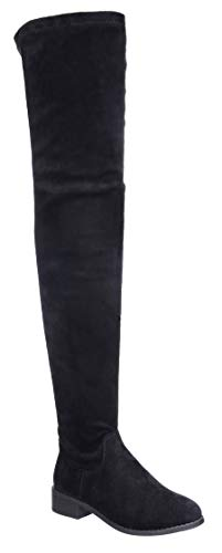Nature Breeze Olympia 20 Womens Stretchy Thigh High Side Zipper Low Heel Combat Boots Black 8.5
