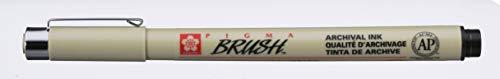 Sakura Pigma BRUSH Pinselstift SCHWARZ (#49), Pigmentmarker mit Pinselspitze, 1 Stück
