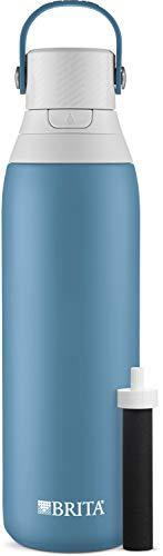 Brita Botella de filtro de agua de acero inoxidable, Blue Jay, 20 onzas, 1 unidad