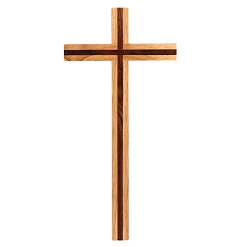 VOSAREA Wandkreuz Echtes Holz Buche Kreuz Kruzifix Holzkreuz Kreuz Wand Anhänger Auferstehungskreuz Christliches Katholisches Kruzifix Ornament Geschenkidee für Wand