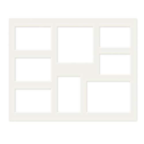 PHOTOLINI Galerie-Passepartout Weiß 40x50 cm für 8 Bilder (2X 9x13 cm, 4X 10x15 cm, 1x 13x18 cm, 1x 15x15 cm) | Passepartout mit Mehrfachausschnitt