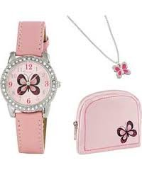 Pink butterfly theme watch Purse and necklace set Pink PU strap Pink butterfly theme dial Stainless Steel Buckle fastening