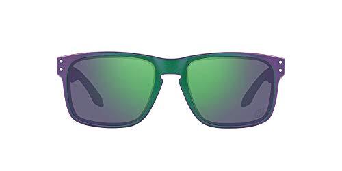 Oakley Men's OO9102 Holbrook Square Sunglasses, Matte Purple Green Splatter/Prizm Jade, 57mm