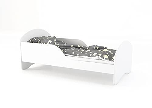 Children's Beds Home - Cama Individual Cosmo - Para Niños Niños Niño Niño Junior - Tamaño 160x80, Color Blanco, Cajón No, Colchón 12 cm de Alta Resistencia Látex