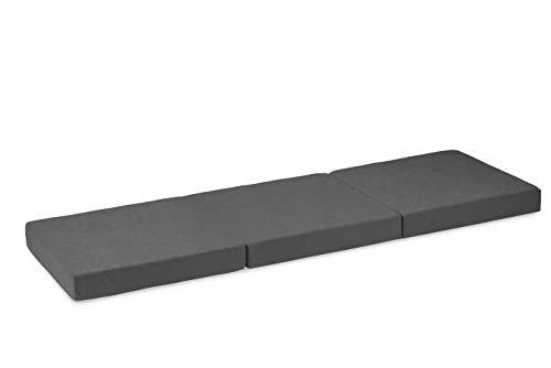 haus & garten Hochwertige 3-Teilige Klappmatratze (195 x 80 x 10, Grau)