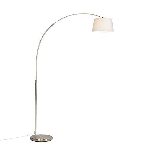 QAZQA Moderno Lámpara de arco moderna acero pantalla blanca - ARC Basic Textil/Acero Redonda Adecuado para LED Max. 1 x 20 Watt