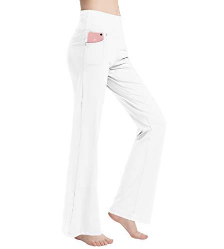 Haining Women's Bootcut Yoga Pants Tummy Control Workout Non See-Through Bootleg Yoga Pants (White, X-Large)