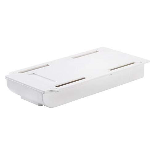 Organizador de mesa de cocina, caja de almacenamiento, papelería de dormitorio, soporte para bolígrafo, cajón adhesivo debajo de la mesa, 22 x 15,5 x 3,5 cm, color blanco