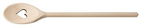 FACKELMANN Kochlöffel Herz 30 cm, Rührlöffel aus Buchenholz, Küchenhelfer für beschichtete Pfannen und Töpfe (Farbe: Braun), Menge: 1 Stück