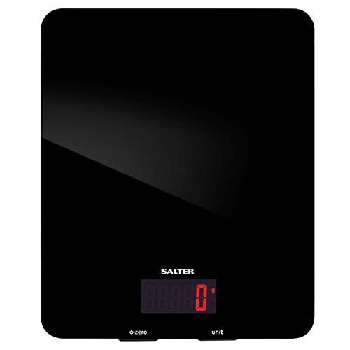 Salter 1150 BKDR Balance de Cuisine électronique-Capacité de 5kg, Verre, Noir, 26 x 30 x 5 cm