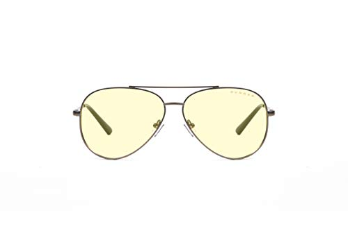 GUNNAR Gaming and Computer Eyewear | Maverick, Gunmetal frame, Amber Tint| Blue Light Blocking Glasses | Patented lens, 65% Blue Light Protection, 100% UV Light | Reduce Eye Strain & Dryness