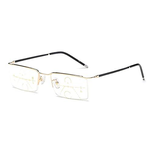 HAOXUAN Gafas de Lectura Ultraligeras Anti-Luz Azul, Gafas Masculinas de Mediana Edad Y Ancianos, Lente Multifocal Progresiva, DioptríAs de +1,00 A +3,00,Oro,+1.00