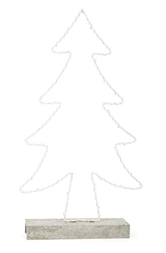 Kleine voetlichtdennenboom van metaal met stevige houten voet in betonlook met LED-verlichting, werkt op batterijen, kerstdecoratie voor de vensterbank, winterdecoratie, wit