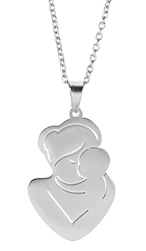 AMOZ Collar Colgante de Acero Inoxidable para Madre E Hijo, Diseño Hueco, Collar con Dije para Mamá Y Bebé, Regalo para Mujer, Esposa, Madre,Plata