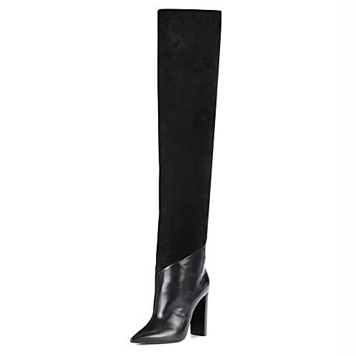 Damskie damskie zakolanówki zakolanówki, szpiczaste zamszowe buty na grubym obcasie łączone długie buty, damskie jesienne i zimowe ciepłe skórzane buty (Color : Black, Size : 42 EU)