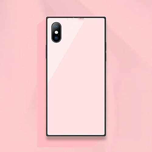 Estuche a prueba de explosiones de vidrio templado cuadrado de moda para iPhone 11 pro Xs Max Xr X 8 7 6 6S Plus Cubierta de teléfono de vidrio de protección completa, rosa, para iPhone 8 Plus