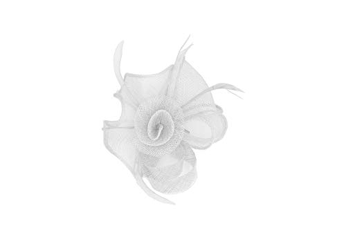 Finecy In - Elegante Sinamay Krullen en Veer Fascinator Bruiloft Hoed Prom Royal Ascot Races Hoofdstuk Hoed Broche Pin & Clip