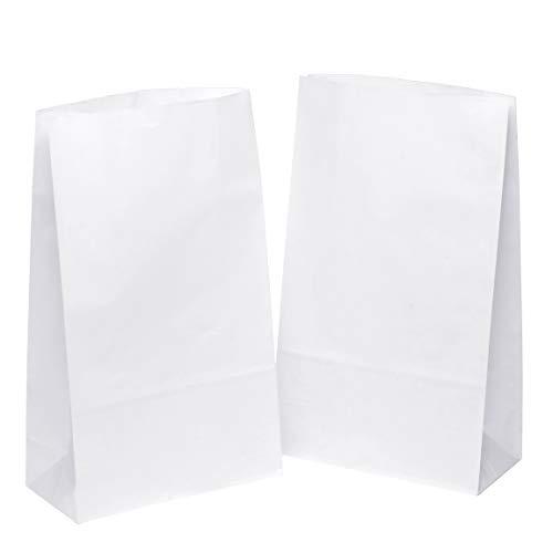 kgpack 50 STK. Papiertüten klein 18 x 30 x 8 cm Bodenbeutel, auch, Obstbeutel, Mitgebseltüten, Butterbrottüten, Süßigkeiten, Geschenkverpackung, Gastgeschenke Tüten aus Weiß Kraft Geschenkpapier