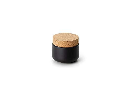 Continenta Keramikdose mit Korkdeckel, matt schwarz Ø 10,5 x 10 cm, Keksdose, Vorratsdose, Vorrats Behälter, Aufbewahrungsbox