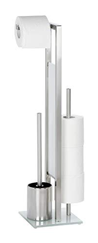Wenko Rivalta Portarrollos con Escobillero, Acero Inoxidable, Plata Mate, 18 x 23,5 x 69,5 cm