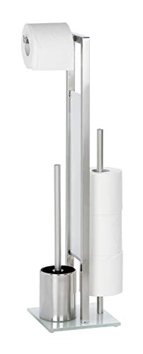 WENKO Stand WC-Garnitur Rivalta Edelstahl Matt - WC-Bürstenhalter, Edelstahl rostfrei, 18 x 70 x 23 cm, Matt